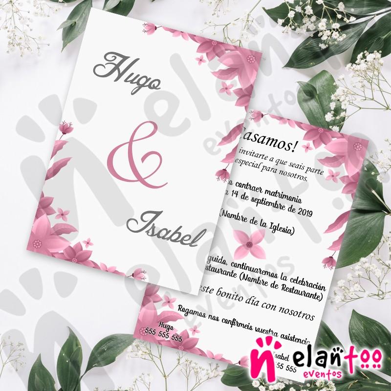 Invitaciones Para Boda En Color Rosa Y Gris Muy Bonitas