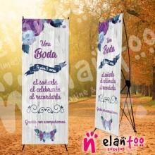 Banner una boda se vive 3 veces violeta