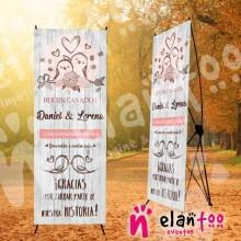Banner Madera Recien Casados Pajaros