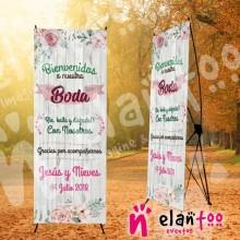 Banner bienvenidos a nuestra boda, rie, baila y disfruta con nosotros