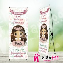 Cartel Xbanner muñeca sin boca floral