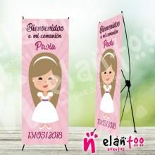 Cartel bienvenida comunión niña rosa