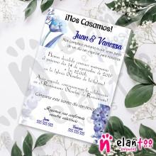 Invitación Boda Flores Azules