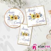 Etiquetas Flores Amarillas