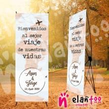 Cartel de boda viajero mapamundi