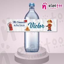 Etiqueta para Botella de Agua Bombero