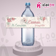 Etiqueta para Botella de Agua Coral