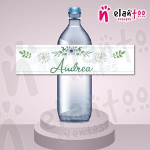 Etiqueta para Botella de Agua Flores Azules
