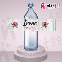 Etiqueta para Botella de Agua Flores Fucsia
