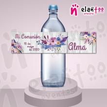 Etiqueta para Botella de Agua Flores Moradas