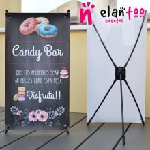Mini cartel candy bar fondo pizarra negra
