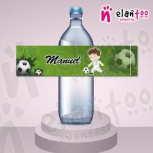 Etiqueta para Botella de Agua Fútbol