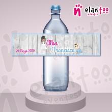 Etiqueta para Botella de Agua Hermanos