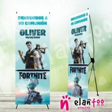Cartel banner de bienvenida comunión fortnite
