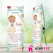 Cartel comunión niña rubia con flores