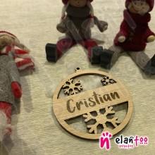 Bola de Navidad Personalizada de Madera Copos