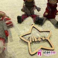 Bola de Navidad Personalizada de Madera Estrella
