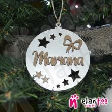 Bola de Navidad con Relieve Estrellas y Lazo