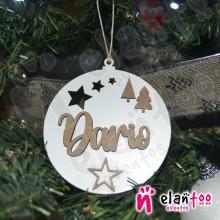Bola de Navidad con Relieve Pinos y Estrellas